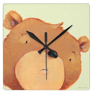 CloseUp of Big Brown Bear Square Wall Clock