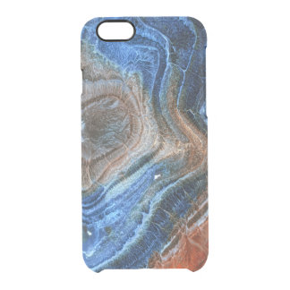 Closeup Of Blue & Brown Agate With Nacre Clear iPhone 6/6S Case