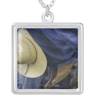 Closeup of Boots & Hat Silver Plated Necklace