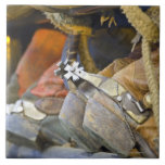 Closeup of Boots & Spurs 2 Large Square Tile