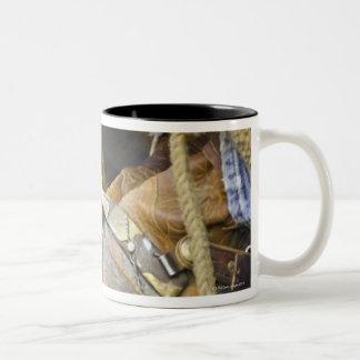 Closeup of Boots & Spurs Two-Tone Coffee Mug