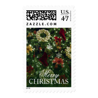 Closeup of Christmas Tree decorations Postage