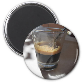 Closeup of espresso coffee in a glass cup 2 inch round magnet