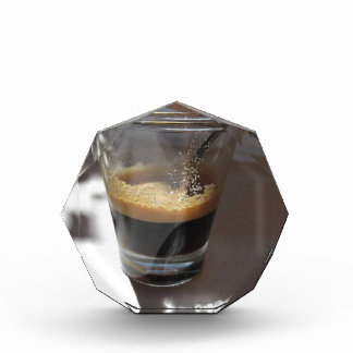 Closeup of espresso coffee in a glass cup acrylic award