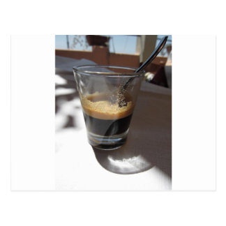 Closeup of espresso coffee in a glass cup postcard