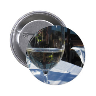 Closeup of glass with white wine pinback button