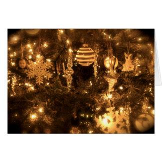 Closeup of indoor Christmas tree Card
