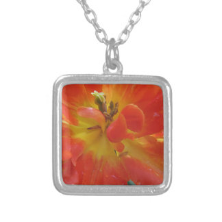 Closeup of orange tulip with droplets in spring silver plated necklace