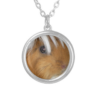 Closeup of Peruvian, Buff and White Guinea Pig Silver Plated Necklace