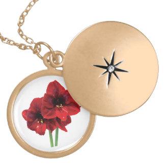 Closeup of Red Amaryllis Round Locket Necklace