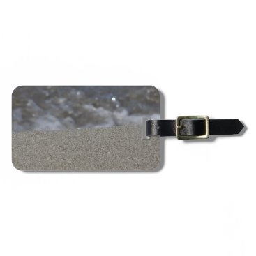 Beach Themed Closeup of sand beach with sea blurred background bag tag