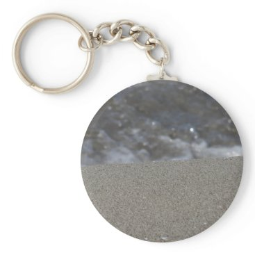 Beach Themed Closeup of sand beach with sea blurred background keychain