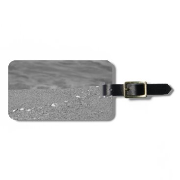 Beach Themed Closeup of sand beach with sea blurred background luggage tag
