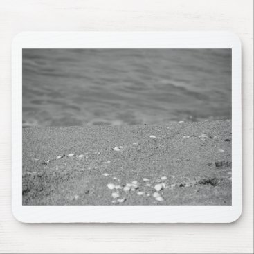 Beach Themed Closeup of sand beach with sea blurred background mouse pad