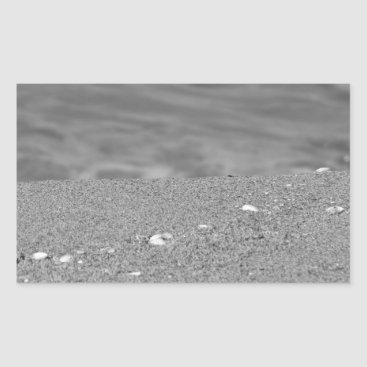 Beach Themed Closeup of sand beach with sea blurred background rectangular sticker