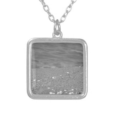 Beach Themed Closeup of sand beach with sea blurred background silver plated necklace