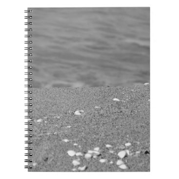 Beach Themed Closeup of sand beach with sea blurred background spiral notebook