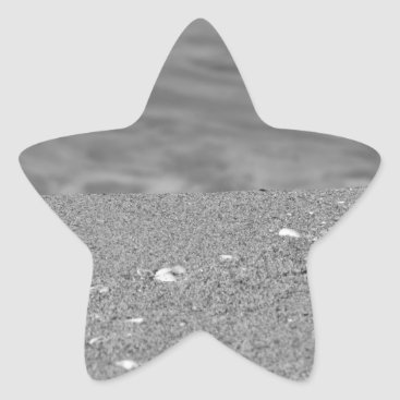Beach Themed Closeup of sand beach with sea blurred background star sticker