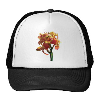 Closeup of Spotted Orange Canna Trucker Hats