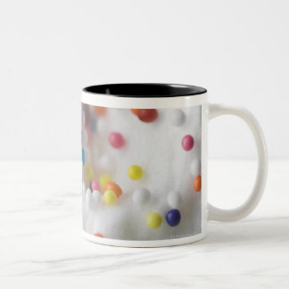 Closeup of sprinkles and frosting Two-Tone coffee mug