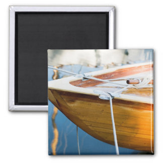 Closeup On Tied Up Boat 2 Inch Square Magnet
