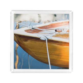 Closeup On Tied Up Boat Serving Tray