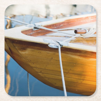 Closeup On Tied Up Boat Square Paper Coaster