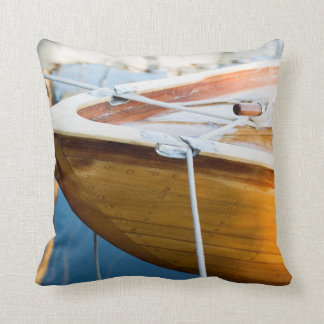 Closeup On Tied Up Boat Throw Pillow