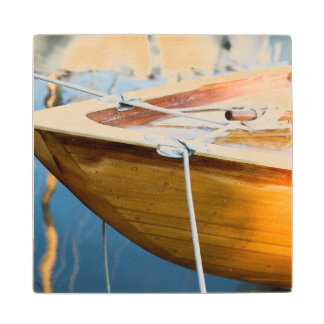 Closeup On Tied Up Boat Wood Coaster