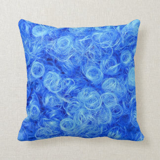 Closeup photo of a blue wig for carnival throw pillow