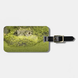 Closeup Photograph of a Gator in Duckweed Luggage Tag