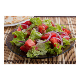 Closeup plate with salad of chopped tomato slices poster