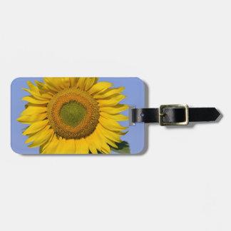 Closeup sunflower luggage tag