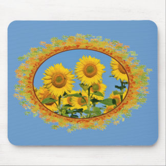 Closeup sunflowers in frame of leaves mousepads