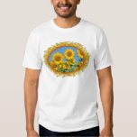 Closeup sunflowers in frame of leaves shirt