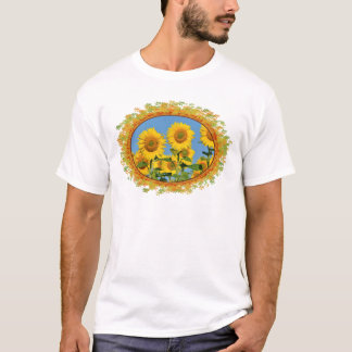 Closeup sunflowers in frame of leaves T-Shirt