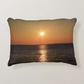 Closeup Sunrise At The Breakwater in Rockland Accent Pillow