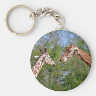 Closeup two giraffes keychain