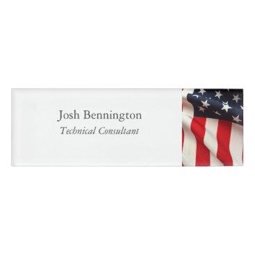 Closeup USA flag Name Tag