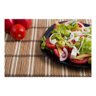 Closeup view fresh natural salad with raw tomato poster