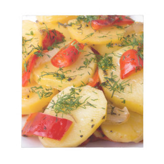 Closeup view of a vegetarian dish of natural notepad