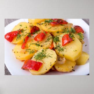 Closeup view of a vegetarian dish of potatoes poster
