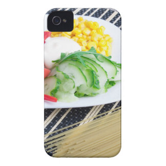 Closeup view of a vegetarian dish of raw vegetable iPhone 4 cover