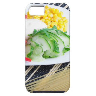 Closeup view of a vegetarian dish of raw vegetable iPhone SE/5/5s case