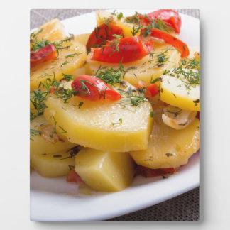 Closeup view of a vegetarian dish of stewed potato plaque