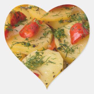 Closeup view of stewed potatoes heart sticker