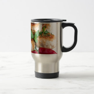 Closeup view on fried meatballs of minced chicken travel mug