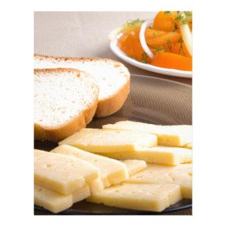 Closeup view on snacks for veggie letterhead