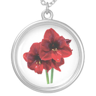 Closoeup of Red Amaryllis Silver Plated Necklace