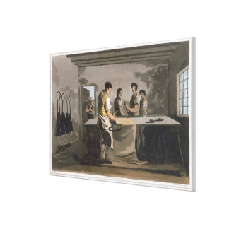 Cloth Dressers, from `Costume of Yorkshire' engrav Canvas Print
